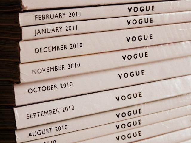 Pile of Vogue print magazine